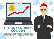 Christmas and New Year business concept. Businessman with computer. Up graph with dollar sign in flat icon design in. Laptop in flat style . Vector stock illustration