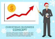 Christmas and New Year business concept. Businessman and graph with trend line rising up and coin with a sign of dollar. In flat style isolated. Vector vector illustration
