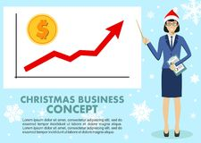 Christmas and New Year business concept. Businesswoman and graph with trend line rising up and coin with a sign of. Dollar in flat style . Vector vector illustration