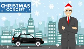 Christmas and New Year business concept. Detailed illustration of young businessman in the Santa Claus hat on background. Detailed illustration of young vector illustration