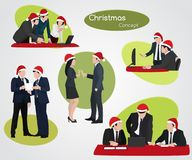 Christmas New Year Business people at work Stock Image