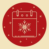 Christmas calendar icon in thin line style Royalty Free Stock Image