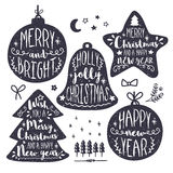 Christmas and New Year Calligraphic set. Stock Images