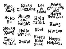 Christmas and New Year calligraphy phrases set. Handwritten brush seasons lettering collection. Xmas phrases. Hand drawn Stock Photos