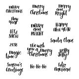 Christmas, New Year calligraphy set. Hand lettering phrases. Greeting cards. Merry Christmas and Happy New Year modern calligraphy set. Hand lettering postcard Stock Images