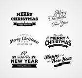 Christmas and New year calligraphy set Stock Images