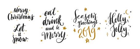 Christmas and New Year calligraphy vector phrases 13. Christmas and New Year calligraphy phrases Merry Christmas, Let it snow, Holly Jolly, 2018. Modern stock illustration