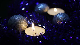 Christmas New Year candle Blue sparkling Background