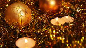 Christmas New Year candle Gold sparkling Background stock video footage