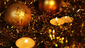 Christmas New Year candle Gold sparkling Background stock footage