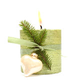 Christmas or New Year candle, ribbon and fir Stock Photos