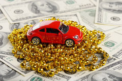 Christmas and new year car toy gift. (installation on the theme of New Year and Christmas business Stock Photography
