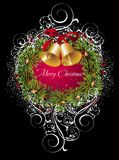 Christmas and New Year card цшер wreath. Wreath flotral tree holly bell   christmas new year Royalty Free Stock Photography