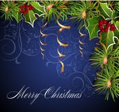 Christmas and New Year card. Christmas eve gold tree winter new Royalty Free Stock Photo