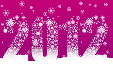 Christmas, new year card 2012. Christmas, new year card with snowflakes and the date 2012. Pink Background Royalty Free Stock Images