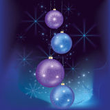 Christmas and New year card. Beautiful celebratory New year and Christmas card with christmas balls, stars and snowflake. Vector illustration Royalty Free Illustration