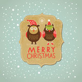 Christmas and New Year card. Vintage label with cute owls Royalty Free Stock Images