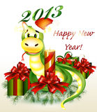 Christmas and new year card. With cartoon snake symbol of year Stock Photos