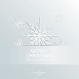 Christmas and New Year card. Abstract snowflakes paper 3D. Christmas and New Year card template. Vector illustration, winter background. Silver backdrop. Cut-out Stock Image