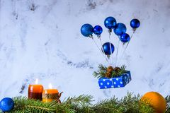 Christmas and new year card. Air balloon of Christmas toys and g Stock Photo