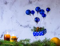 Christmas and new year card. Air balloon of Christmas toys and g. Ift box levitation. Copy space for text stock photo