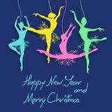 Christmas and New Year card with ballet dancers Stock Image