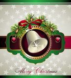 Christmas and New Year card with bell Stock Photos