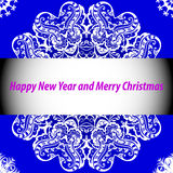 Christmas and New Year card with blue background and ornaments Stock Image