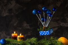 Christmas and new year card with blue toys like an air balloon.  stock photo