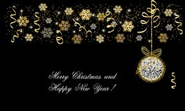 Christmas and New Year card, border of golden snowflakes. Ball and text on black background, vector Royalty Free Stock Photo