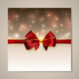 Christmas and New year card with bow Royalty Free Stock Photos