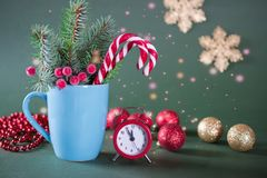 Christmas or new year card . Cup with fir trees, candy canes and red clock. On green background. stock images