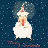 Christmas and New Year card with cute cartoon sheep Royalty Free Stock Photos