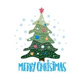 Christmas and New Year card. Cute flat illustration stock image