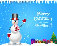 Christmas and new year card with cute snowman in cylinder hat and gifts. Christmas and new year card with cute cartoon snowman in cylinder hat and striped scarf Stock Photography