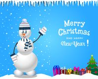 Christmas and new year card with cute snowman in knitted hat and scarf Royalty Free Stock Photo