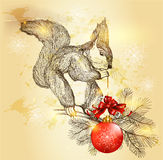Christmas and New year card with  cute squirrel holding red baub Stock Photos