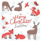 Christmas New Year card with deer and foxes. Christmas background. New Year card with deer and foxes vector illustration