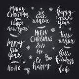 Christmas and New Year card design elements. Wonderful handwritten Christmas wishes for amazing holiday greeting cards. Handdrawn lettering. Christmas and New Stock Photography