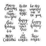 Christmas and New Year card design elements. Wonderful handwritten Christmas wishes for amazing holiday greeting cards. Handdrawn lettering. Christmas and New Stock Images