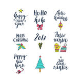 Christmas and New Year card design elements. Wonderful handwritten Christmas wishes for amazing holiday greeting cards. Handdrawn lettering. Christmas and New Stock Photo