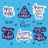Christmas and New Year card design elements. Wonderful handwritten Christmas wishes for amazing holiday greeting cards. Handdrawn lettering. Christmas and New Royalty Free Stock Photo