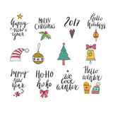 Christmas and New Year card design elements. Wonderful handwritten Christmas wishes for amazing holiday greeting cards. Handdrawn lettering. Christmas and New Royalty Free Stock Images