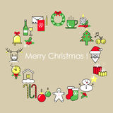 Christmas and New Year card Design Flat Line. Christmas and New Year card, Design Flat Line royalty free illustration
