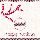 Christmas, New Year card with elements of embroidery Royalty Free Stock Photography