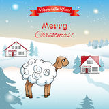 Christmas and New Year card. EPS,JPG. Christmas and New Year card. Poster for celebrating Year of the Sheep on the oriental calendar. Lamb on a snowy hills stock illustration