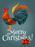 Christmas and New Year card with fire red rooster. Christmas and New Year card with red rooster. New Year animal symbol with fire cock and christmas poinsettia Royalty Free Stock Photos
