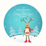 Christmas New Year card funny reindeer character Stock Photos