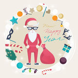 Christmas and New Year card with funny Santa Claus Royalty Free Stock Photography