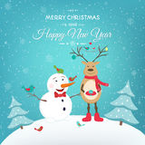 Christmas New Year card with funny snowman deer Royalty Free Stock Photo